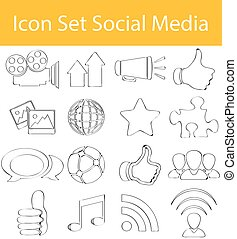 Drawn Doodle Lined Icon Set Social Media with 16 icons for...