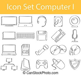 Drawn Doodle Lined Icon Set Computer I