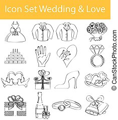 Drawn Doodle Lined Icon Set Wedding and Love - Drawn Doodle...