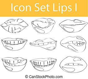 Drawn Doodle Lined Icon Set Lips I with 9 icons for the...