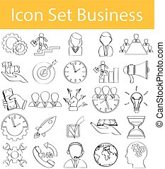 Drawn Doodle Lined Icon Set Business with 25 icons for the...
