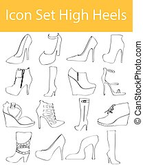 Drawn Doodle Lined Icon Set High Heels with 16 icons for the...