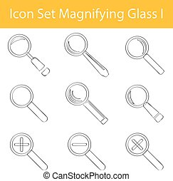 Drawn Doodle Lined Icon Set Magnifying Glass I with 9 icons...
