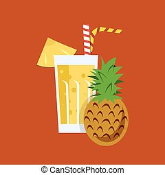 Fresh pineapple juice. Pineapple juice on orange background....