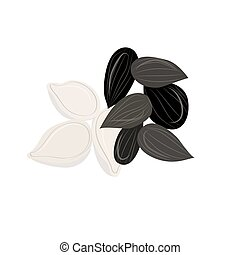 Seed vector illustration. Seed set icon. Sunflower seed on...