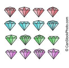 Diamond vector set Diamond stone vector illustration Diamond...