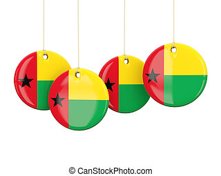 Flag of guinea bissau, round labels on white 3D illustration...