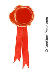 red wax seal - round wax seal red with a red ribbon