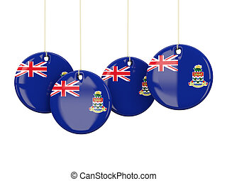 Flag of cayman islands, round labels on white 3D...