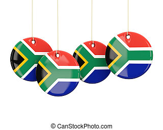 Flag of south africa, round labels on white 3D illustration