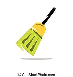 Vector Broom Cartoon Illustration.