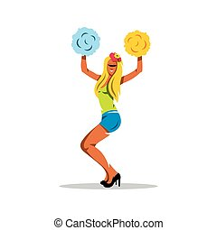 Vector Cheerleading Cartoon Illustration. - Cheerleader girl...