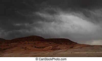 Rain Storm over the desert Time-lapse - Dark Clouds moving...