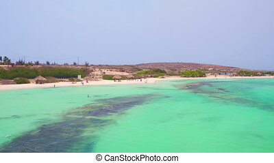 Aerial from Baby beach on Aruba island in the Caribbean