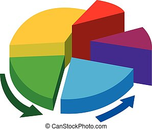 Pie chart - Vector illustration of a pie chart with five...