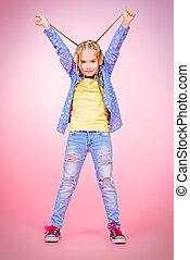 long braids - Pretty modern little girl with braids over...