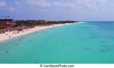 Aerial at Eagle beach on Aruba island in the Caribbean Sea