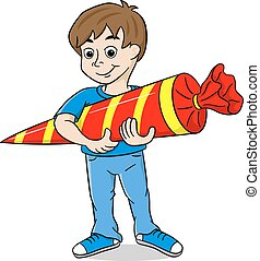 first-grader with school cone - vector illustration of a...