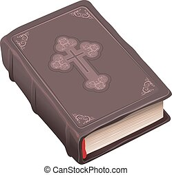 Closed old bible book brown cover - Closed old bible book in...