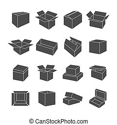 Set of icons of boxes, vector