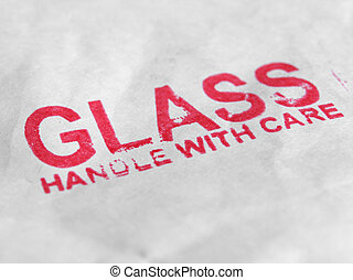 Glass handle with care small packet parcel