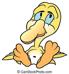Yellow Duckling - Sitting Yellow Duckling - Colored Cartoon...