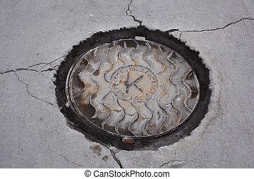 sewer manhole - closed sewer manhole on street asphalt