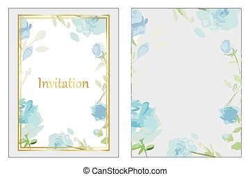 Blue roses wedding invitation - Blue roses and gold frame...