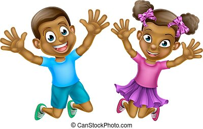 Happy Cartoon Boy and Girl - Happy cartoon young black boy...