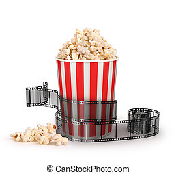 box of popcorn with a strip of 35mm film on a white...