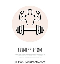 Fitness line art icon for your design Vector illusration
