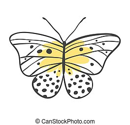 Isolated butterfly Hand drawn vector illustration Decorative...