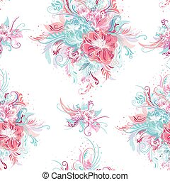 Fresh Romantic Vector Pattern - Seamless tile-able floral...