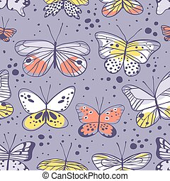 Seamless pattern with butterfly Hand drawn vector...