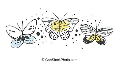 Set of butterfly. Hand drawn vector illustration. Decorative...