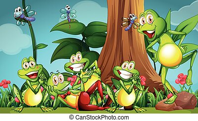 Five frogs and dragonflies in the garden illustration