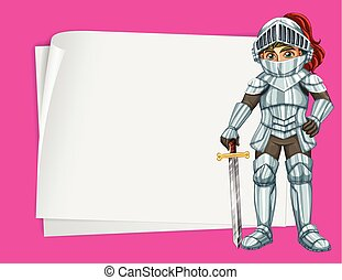 Paper design with knight in silver outfit illustration