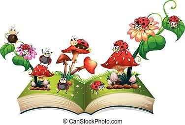 Book of ladybugs and mushroom illustration