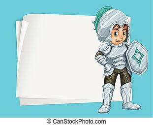 Paper design with knight illustration