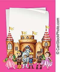 Paper design with characters from fairytales illustration