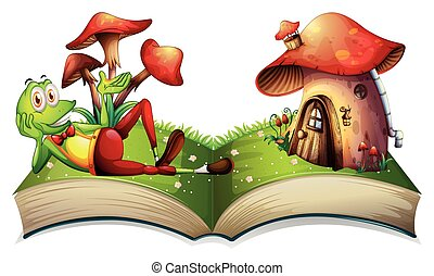 Book of frog and mushroom house illustration