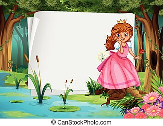 Paper design with princess in the woods illustration