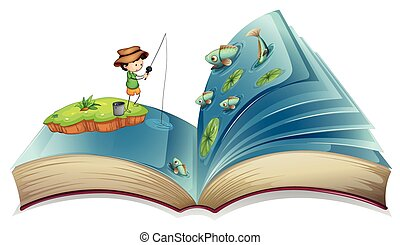 Book of boy fishing in the pond illustration