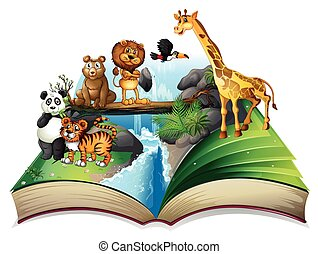 Book of wild animals at waterfall illustration