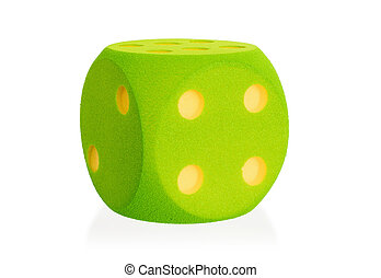 Large green foam dice isolated - 4 - Large green foam dice...