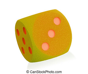 Large orange foam dice isolated on white set