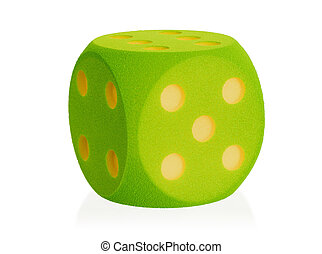 Large green foam dice isolated - 5 - Large green foam dice...