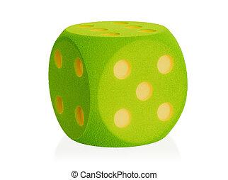 Large green foam dice isolated - 5 - Large green foam dice...
