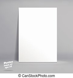 Vector : White paper poster in grey studio room, Template mock up for display of product or your content ,Business backdrop