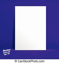 PrintVector : White paper poster in vivid dark purple studio room, Template mock up for display of product or your content ,Business backdrop